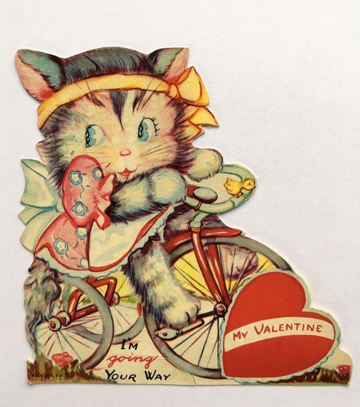 Vintage Valentine Card Die Cut Kitty Cat Pink Dress Tricycle Bike Bow Heart Bird | eBay