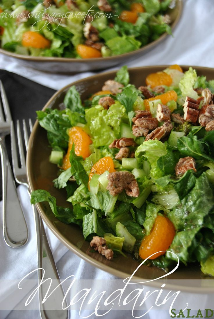 Mandarin Salad- romaine salad tossed with celery, green onion, mandarin oranges, cinnamon pecans and homemade dressing! #salad