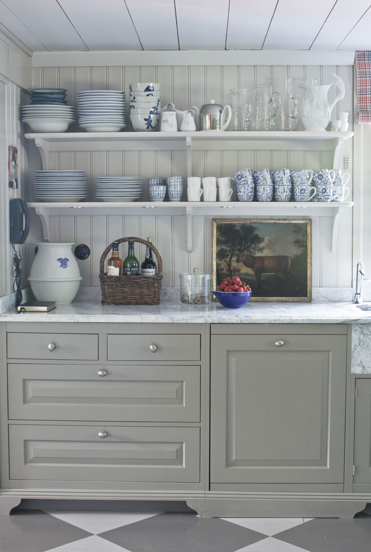 Blue and white china, country kitchen www.birgittaorn.com