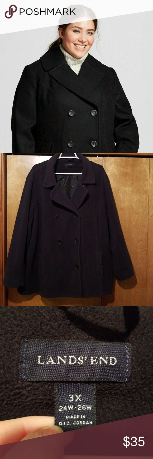 Black pea coat 3X Black fleecy pea coat, size 3X, 24-26 women's. No damage/holes.  Minor pilling, not noticeable.  Nice medium weight coat, great to layer.  2 pockets, fully lined. Bust 60 Length 32 No trades. Lands' End Jackets & Coats Pea Coats