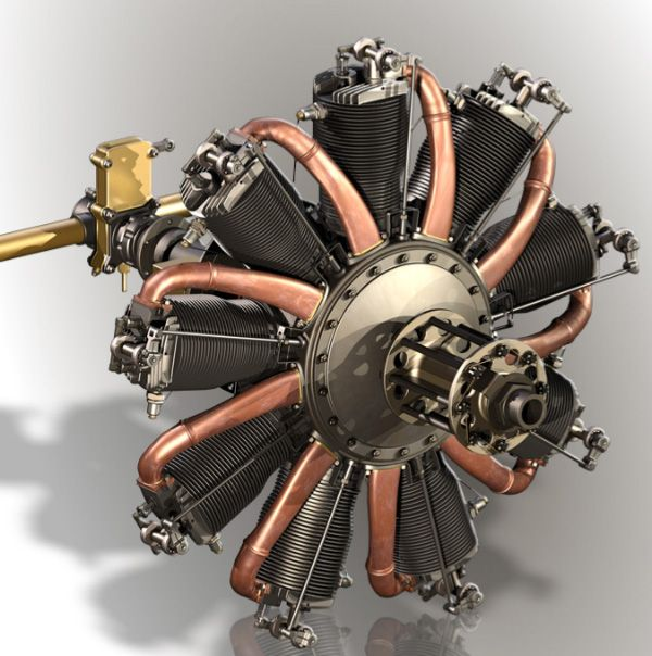 Le Rhone 9C Rotary Engine-how it worked
