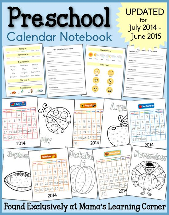 Kindergarten Calendar Notebook : Preschool calendar notebook activities notebooks and