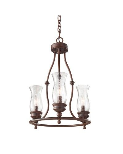 elstead lighting feiss pickering lane 3 light chandelier in heritage bronze finish with storm glass shades