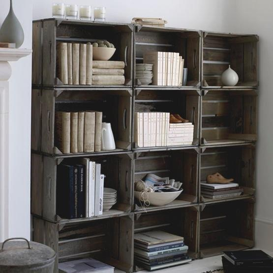 Stained crates, stacked, make great shelving