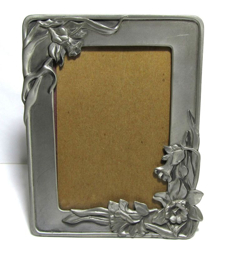 "Vintage 1989 Seagull Pewter Daffodil Flower Picture Frame PF161  3  1/2"" x 5"""