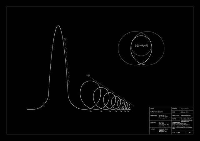 Euthanasia Coaster is a hypothetic euthanasia machine in the form of a roller coaster, engineered to humanely – with elegance and euphoria – take the life of a human being. Riding the coaster's track, the rider is subjected to a series of intensive motion elements that induce various unique experiences: from euphoria to thrill, and from tunnel vision to loss of consciousness, and, eventually, death