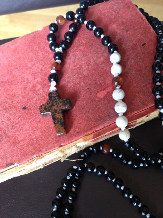 Rosary Necklace Cross Amulet Handcrafted by AdoAmuletJewels