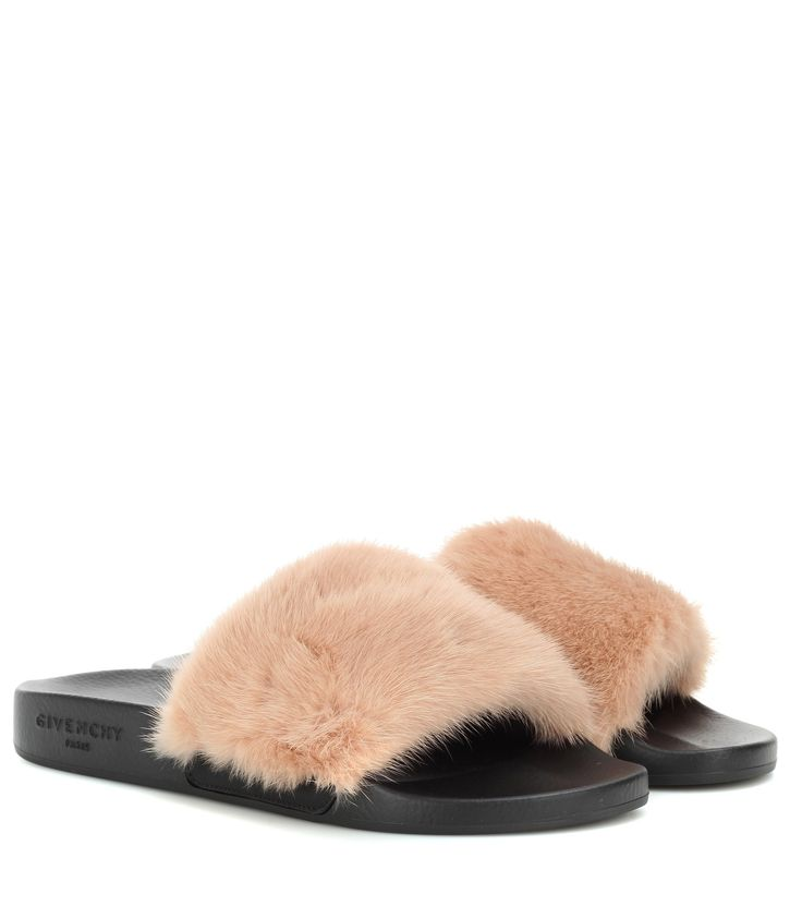 GIVENCHY Fur slip-on sandals
