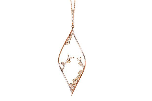 Michael John Jewelry's 18-karat rose gold pendant necklace features round brilliant and rose-cut diamonds ($6,000).