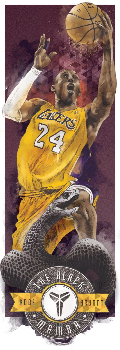 Kobe Bryant.  AKA The Black Mamba by Chris DiBenedetto, via Behance