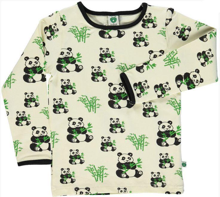 Långärmad tröja vit med pandor från Småfolk