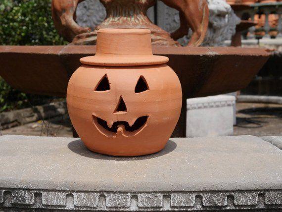 1 Gallon Terra Cotta Jack O Lantern Pumpkin With Hat From Craven Pottery Jack O Lantern Pottery Vintage Statues