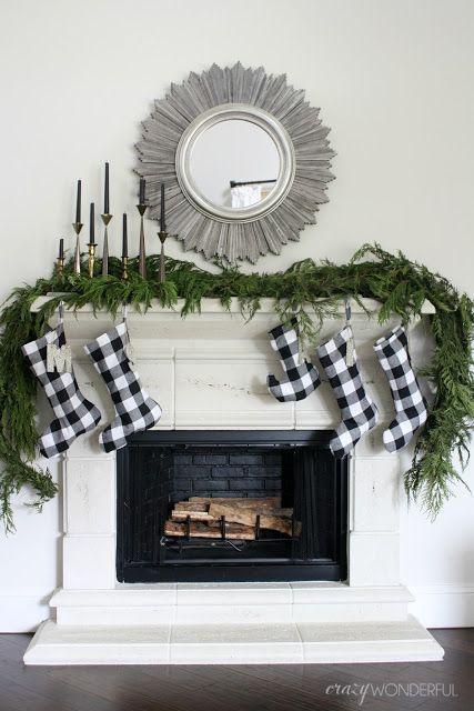 Crazy Wonderful: christmas home tour, fresh garland ideas, simple christmas mantle, black and white christmas stockings, buffalo plaid stockings, brass candleholders