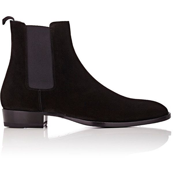 Saint Laurent Suede Hedi Chelsea Boots ($895) ❤ liked on Polyvore featuring shoes, boots, ankle booties, black, mens chelsea boots, mens black suede shoes, mens black suede boots, mens leather sole shoes and mens shoes