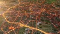 24 Hours of Berlin Traffic. Firefly / particle visualization of traffic on 2.5 satellite map.