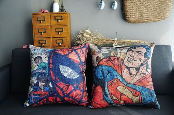 010571 Retro Superman / Spiderman Figure Cotton Linen Pillow Cover Back Cushion Cover on Etsy, $16.62 CAD