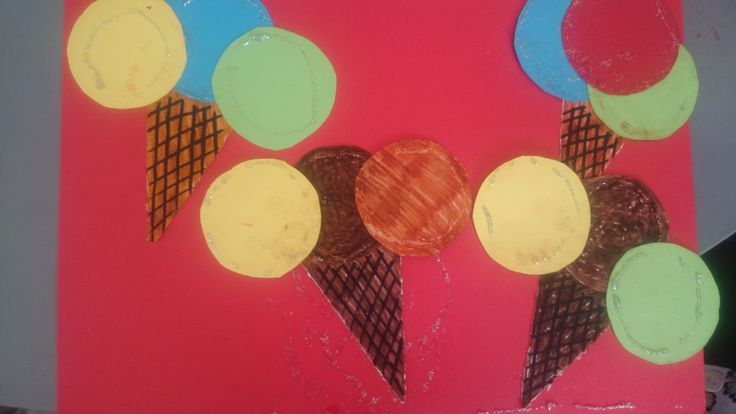 Craft: cut the shapes of the ice cream, colour what is needed, and glue them all together, then on the larger paper, and last, decorate with markers