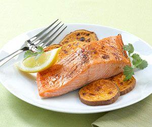 20 healthy dinner ideas: Sweet Potato Fries, Healthy Meals, Glaze Salmon, Sweet Potatoes Fries, Healthy Dinners, Dinners Recipes, Ancho Glaz Salmon, Dinners Ideas, Healthy Food