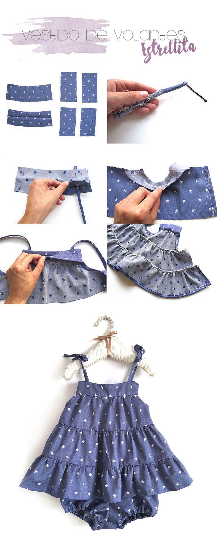 In Spanish, but has lots of pictures. 4 tutoriales de ropa de bebé de verano DIY- Vestido de bebé de volantitos