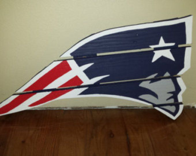 New England Patriots sign made from reclaimed lumber, hand painted
