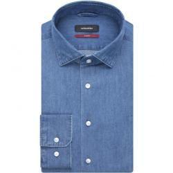 Bügelfreies Popeline Business Hemd in Slim mit Kentkragen SeidenstickerSeidensticker