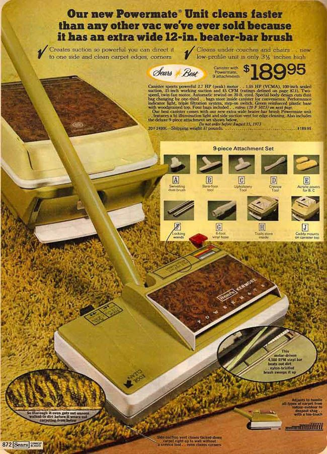 Shag carpet, they don't make like the used to. When we had it installed, we were really groovin'. 1973 Sears Powermate Vacuum to Clean Your Shag Carpeting