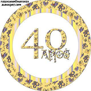 40 Anos Feminino - Kit Completo com molduras para convites, rótulos para guloseimas, lembrancinhas e imagens!