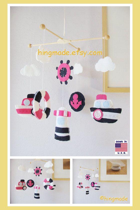 Baby Mobile, Nautical Mobile, Mariner Mobile, Ship Mobile, Baby Girl Mobile, Navy Blue Pink White, Match Bedding Mobile