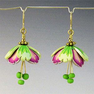 Apple Blossom Fairy Wing Earrings by Kim Korringa Designs, polymer clay.