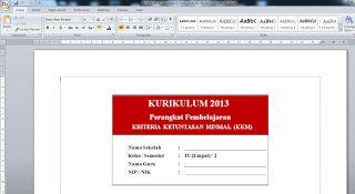 Download Kumpulan Prota, Promes, dan KKM K13 Kelas 4 SD smt 1 dan 2   KURIKULUM PENDIDIKAN NASIONAL