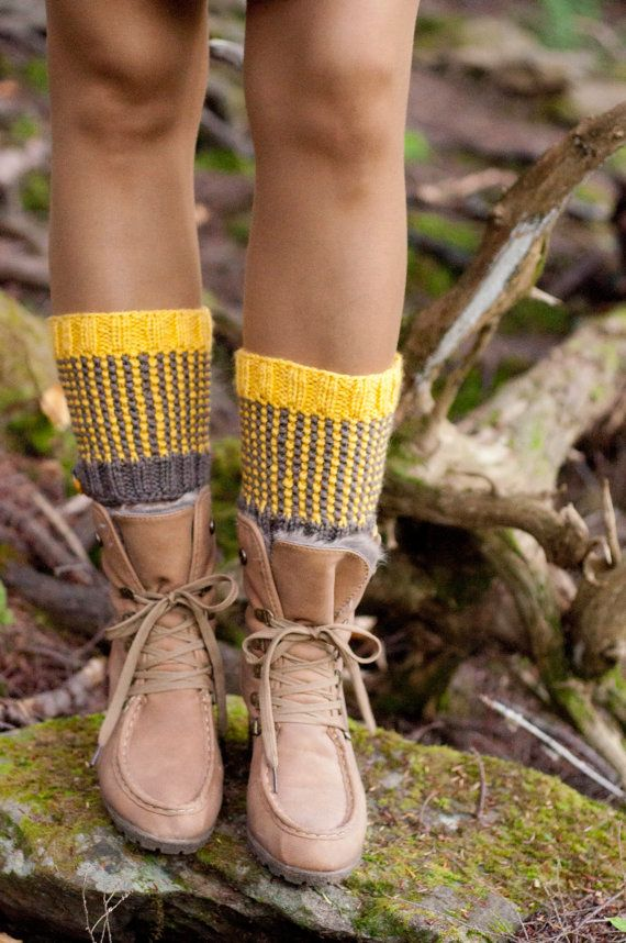 Two-Tone Totally Reversible HandKnit Boot Cuffs Chunky Texture Waffle Boot Toppers Striped Spats Legwear Gaiters taupe mustard READY TO SHIP...