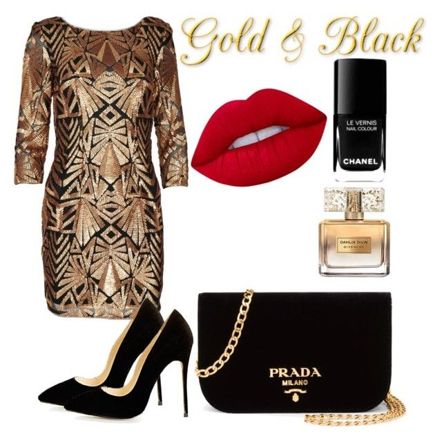 """""""Gold and black"""" by erinjnolan on Polyvore featuring Prada, Givenchy, Chanel and Lime Crime"""