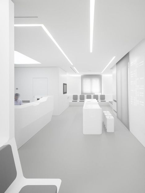 Almost everything is pristinely white inside this dental clinic in Sicily
