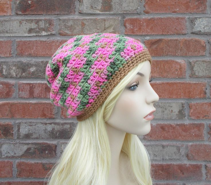 Pink Camo Hat Pink & Green Hat Gifts Under 25 Long Beanie Slouchy Beanie Teen Hats Womens Hats Pink Slouchy Beanie Hand Crocheted Hats Knit by foreverandrea on Etsy