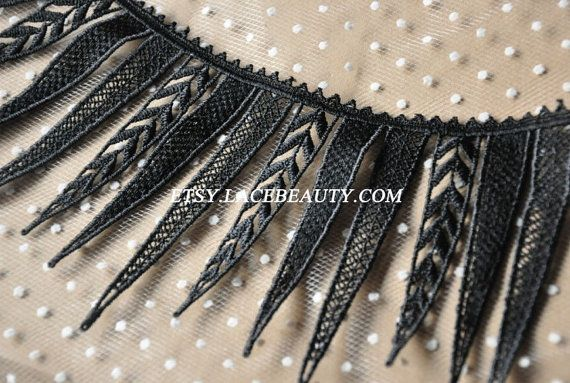 Black Venice Lace Trim Big Eyelash Leather Wedding Lace Trim 5.3 Inches Wide 1 Yard at 5.99