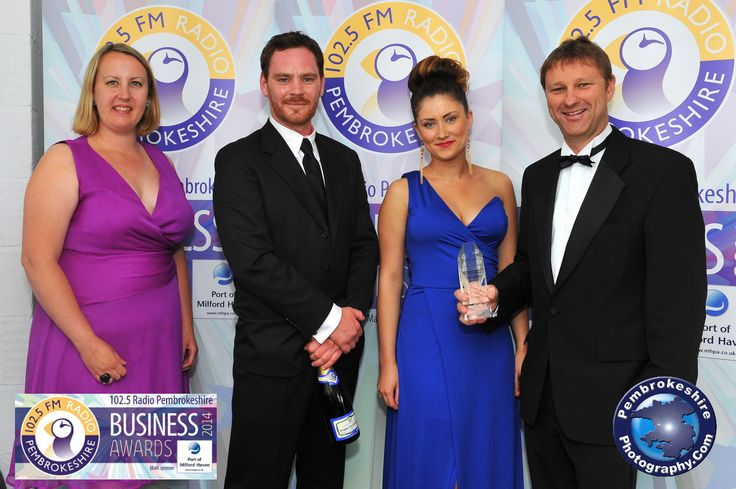 Gillan Williams, Georgia Busby and Tim Brace receiving the Ecommerce Award at the Pembrokeshire Business Awards