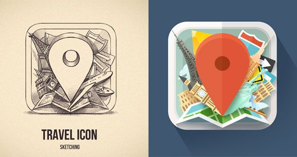 Beautiful Collection of Icon Sketches for Inspiration |  http://dribbble.com/shots/1072258-Sketching-an-Icon