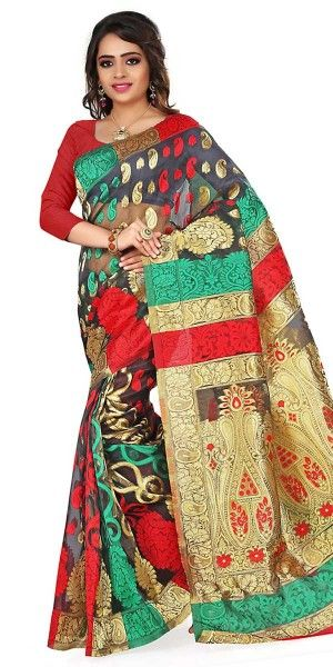 Winsome Black And Multi-Color Silk Saree With Blouse.