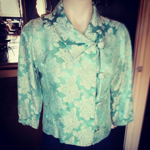 #vintage #silver #thread #50s #top $49 #aqua #floral #embroidery #collar #buttons #lady #1950s #fifties