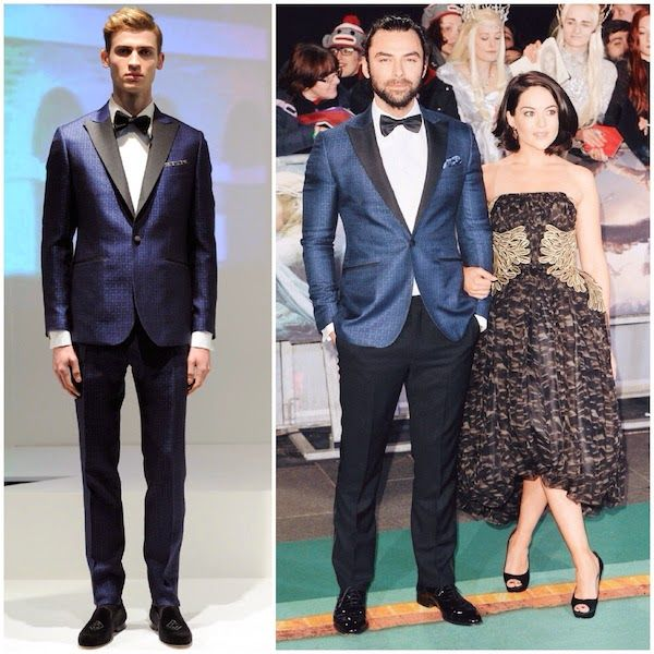 """Aidan Turner in Hardy Amies - World Premiere of """"The Hobbit: The Battle Of The Five Armies"""" http://www.whats-he-wearing.com/2014/12/aidan-turner-wears-hardy-amies-tuxedo-world-premiere-hobbit-battle-five-armies.html  #HobbitPremiere"""