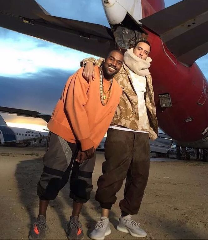 Kanye West & French Montana in Yeezy Boost 350 V2's