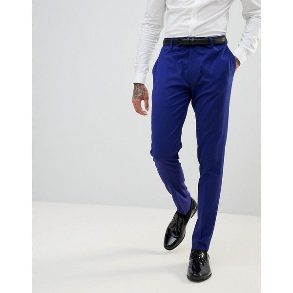 ASOS WEDDING Super Skinny Smart Trousers In Bright Blue (2,110 PHP) ❤ liked on Polyvore featuring men's fashion, men's clothing, men's pants, men's casual pants, blue, asos mens pants, mens super skinny dress pants, mens skinny pants, mens zip off pants and mens skinny fit dress pants