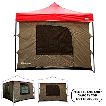 Camping Tent attaches to any 10'x10' Easy Up Pop Up Canopy Tent with 4 Walls, Mesh Ceiling, PVC Floor, 2 Doors and 4 Windows – Standing Tent – Family Room Tent - TENT FRAME AND CANOPY NOT INCLUDED