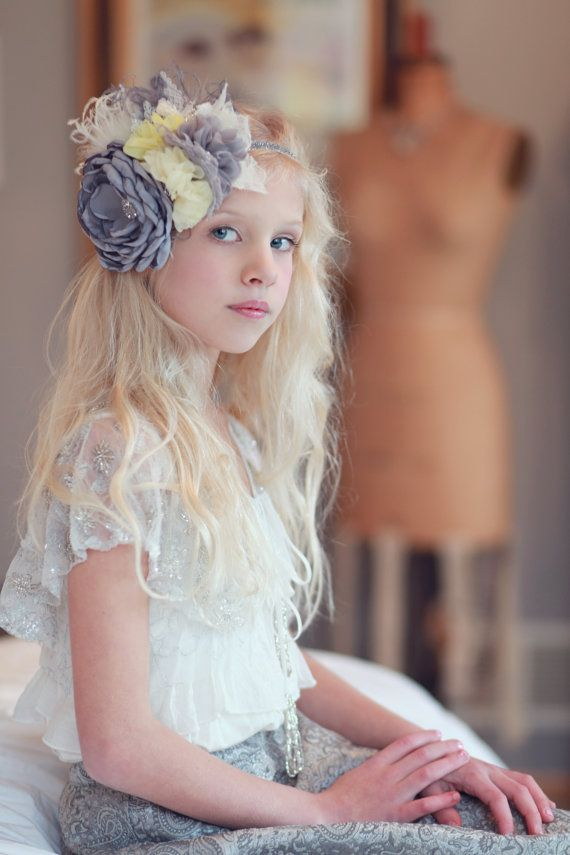 Flower girl headband yellow and Gray Flower Lace Feathers and Rhinestones