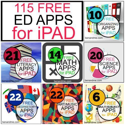 115 FREE Educational APPS for iPAD #edapps #homeschool