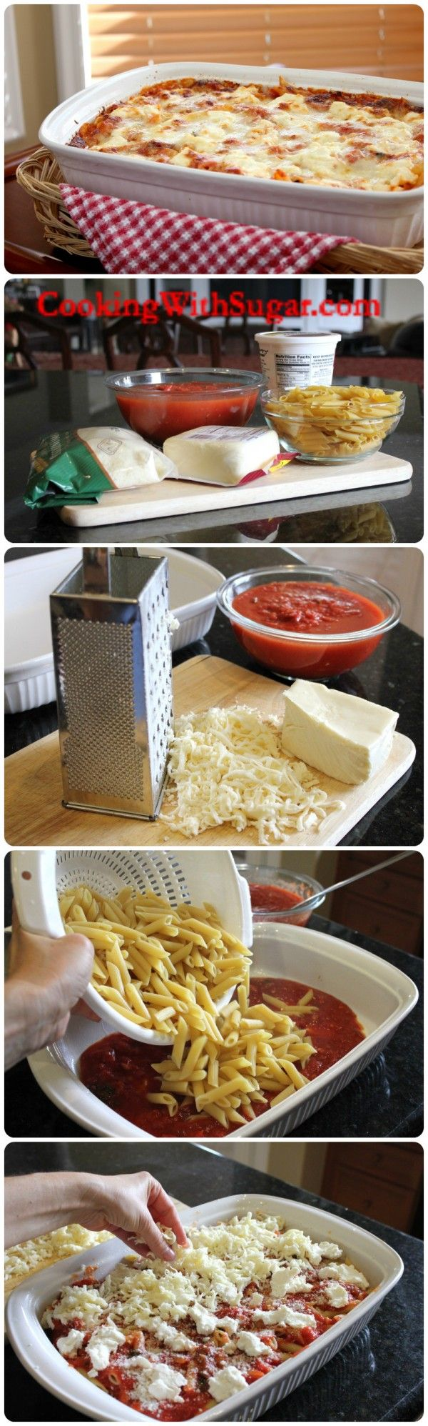 Homemade Italian Pasta Recipes – Baked Ziti- takes MUCH longer to bake than the recipe states, about twice as long total.  Also added Italian spices, garlic salt, and oregano to both marinara layers.