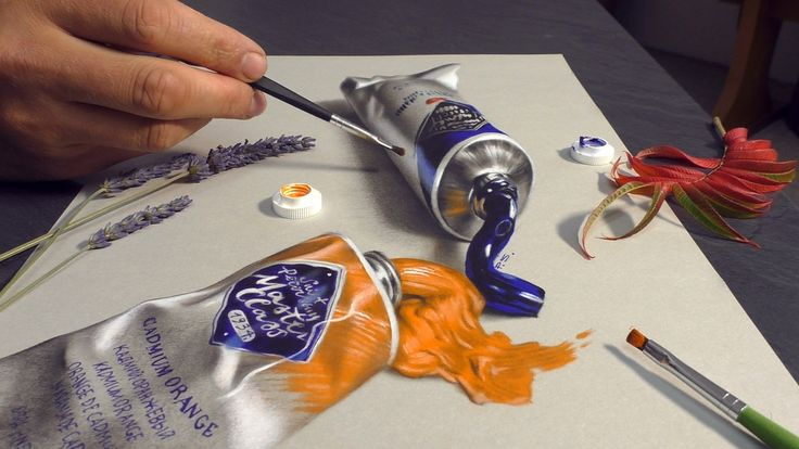 HYPER REALISM painting in 3D/ oil paints Master Class St-Petersburg AMAZING realistic 3D Drawing (Trick Art) of an oil color tube How To Draw an Anamorphic Optical Illusion