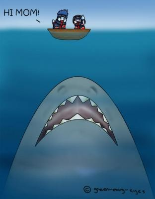 """""""Kisame... WTF?!"""" """"... It was a joke..."""" """"... You honestly don't know, do you?"""" """"Know what?"""" """"..... Big shark equals death!"""" """"Oh, no, that's my shark."""" """"... Send it away."""" """"Why?!"""" """"Big shark will die if you don't send it away!"""" """"Go away Whitey! It won't budge."""" """"Whitey? That's a stupid name for a Great White Shark."""" """"..... What would you name i-"""" """"Stupid. Or Killer... But, Stupid."""" """".... Why'd I even ask?"""" """"Because you knew the answer, but wanted to hear it from my mouth."""" """"....."""""""