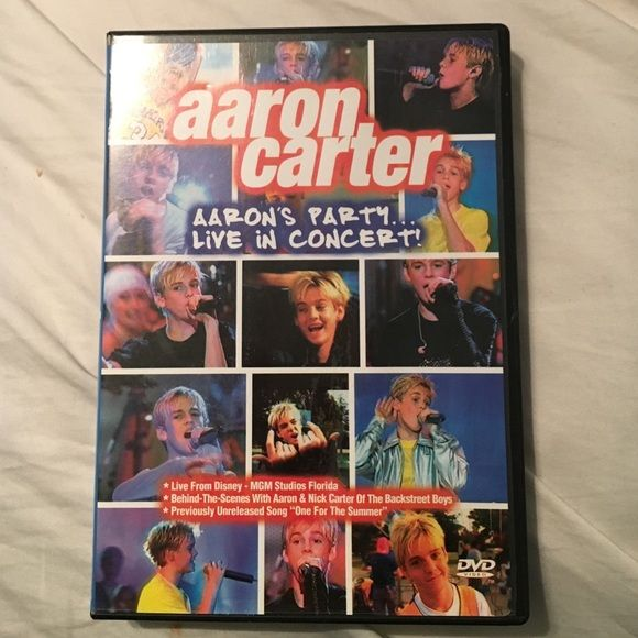 Aaron Carter - Aaron's Party Live in Concert Dvd Aaron Carter- the once 13 year-old Little Prince of Pop in his first live concert video. Features sizzling performances of old-classic Aaron Carter songs from Aaron's Double-Platinum Jive Debut Album, Aaron's Party (Come Get It). In good condition. Always held in case. Other