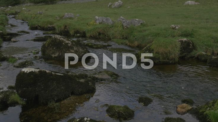 4K Malham Beck Stream by Malham Cove Lime Stone Cliff Woodland Trees - Stock Footage   by RyanJonesFilms